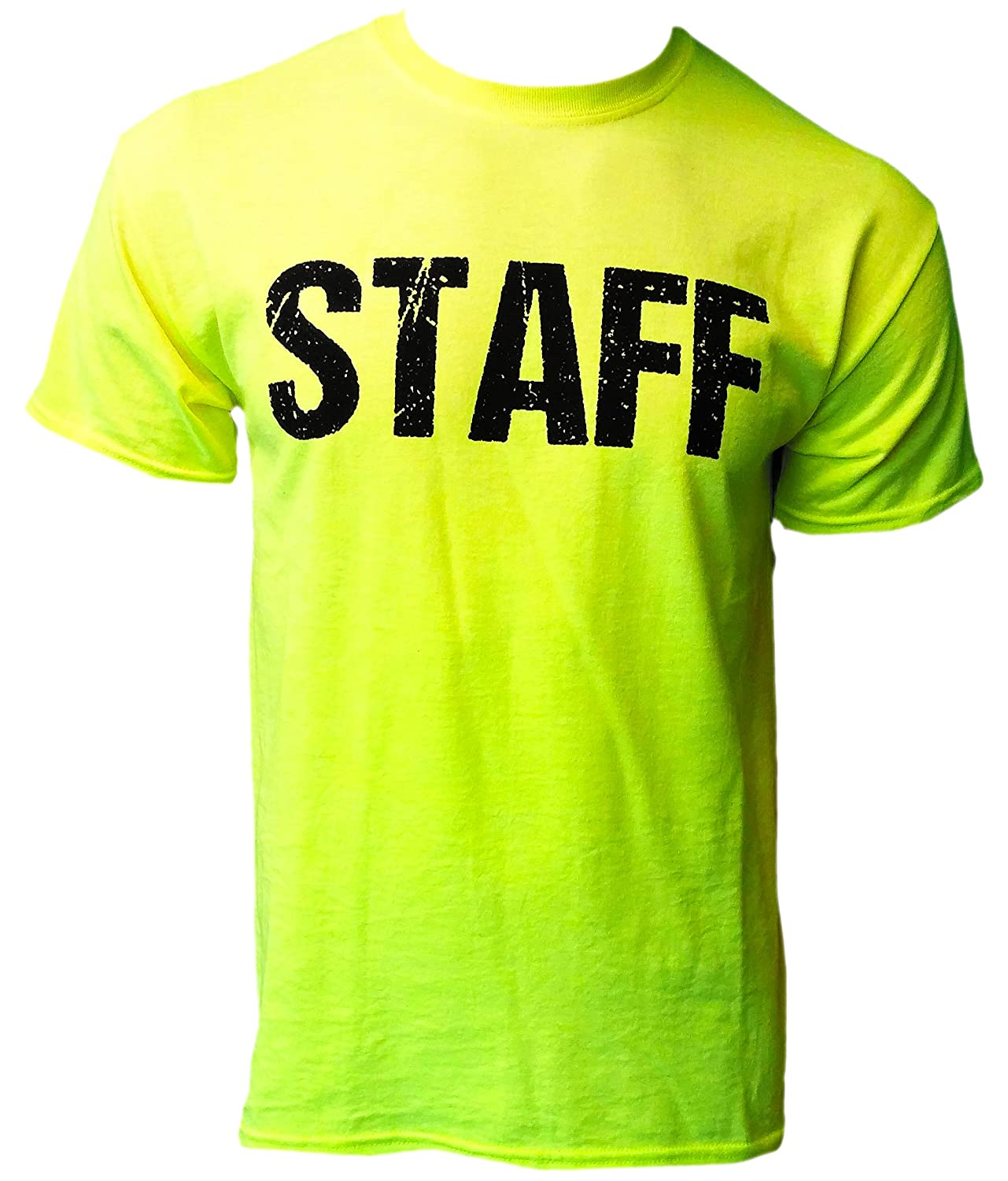 Neon staff t shirt front back print mens event shirt for T shirt printing stonecrest mall