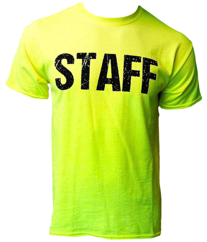 Neon staff t shirt front back print mens event shirt for T shirt printing fairlane mall