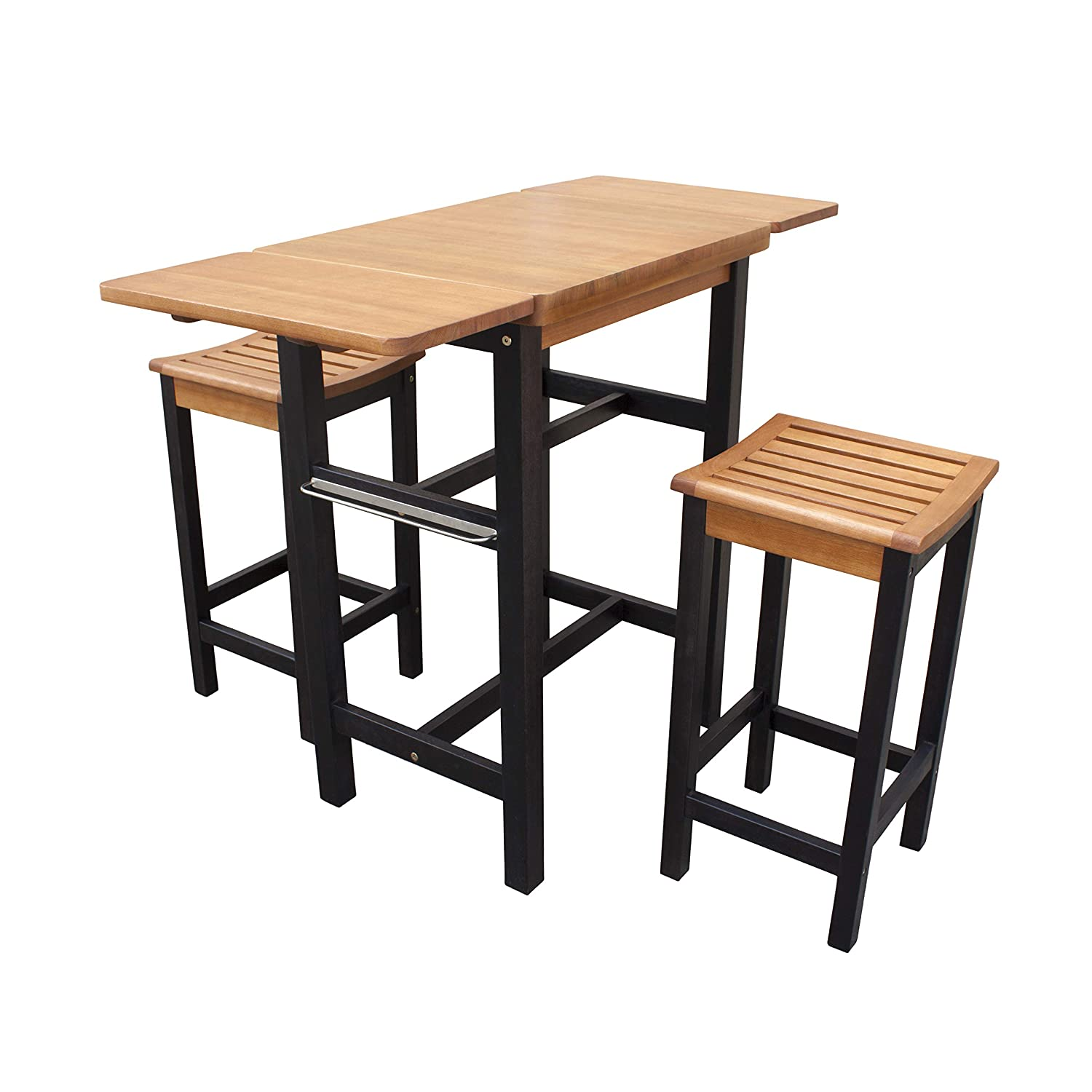 Buy Merry Garden Kitchen Island Table Two Stool Set Natural Online At Low Prices In India Amazon In