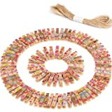 100 Pieces Mini Colorful Wooden Craft Clips Photo Paper Peg with 10 Meter Twine