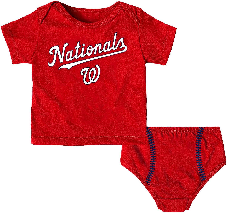 MLB Infants Toddler Little Hitter Short Sleeve Shirt /& Diaper Set