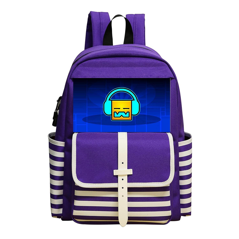 Oiguio Geoetry Dash Robtop Games School Backpack Bookbag Daypack Shoulder Bag Purple
