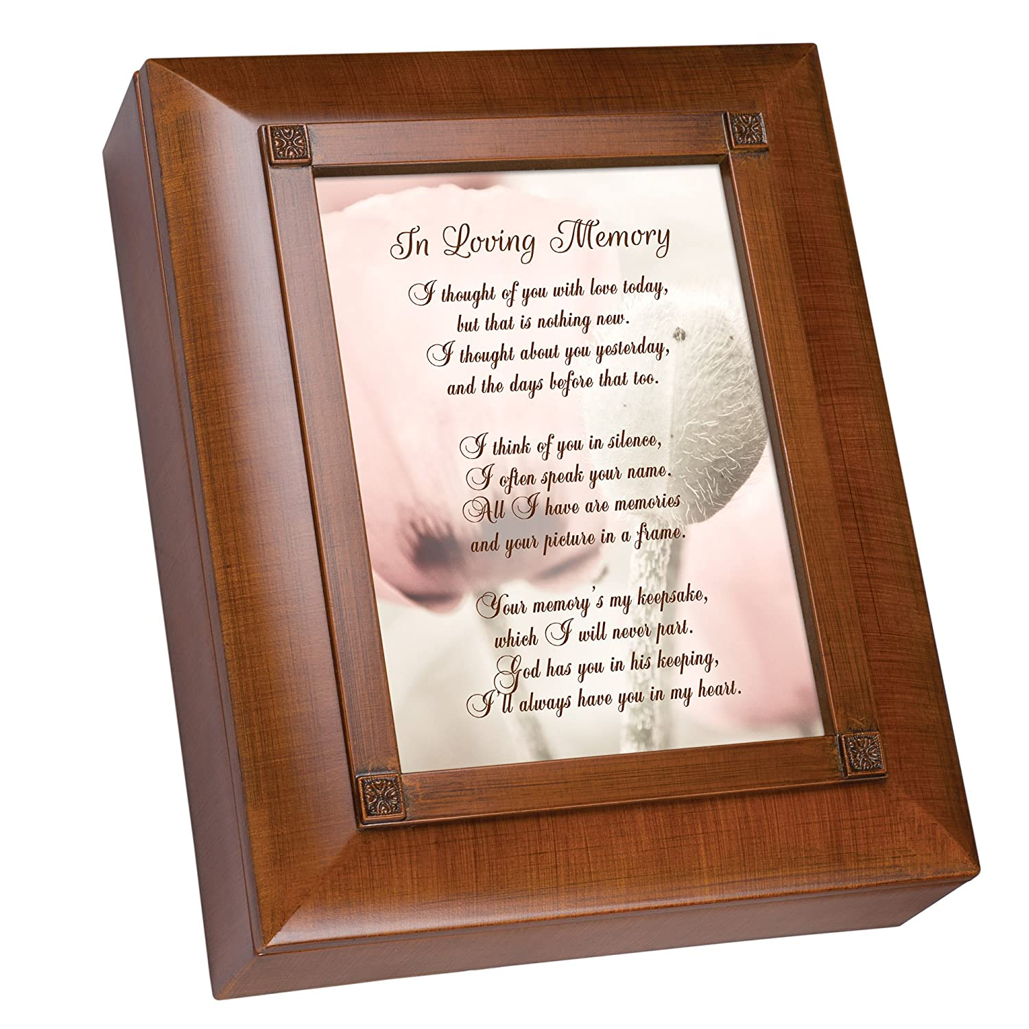 Cottage Garden Thought of You with Love Woodgrain Remembrance Keepsake Box