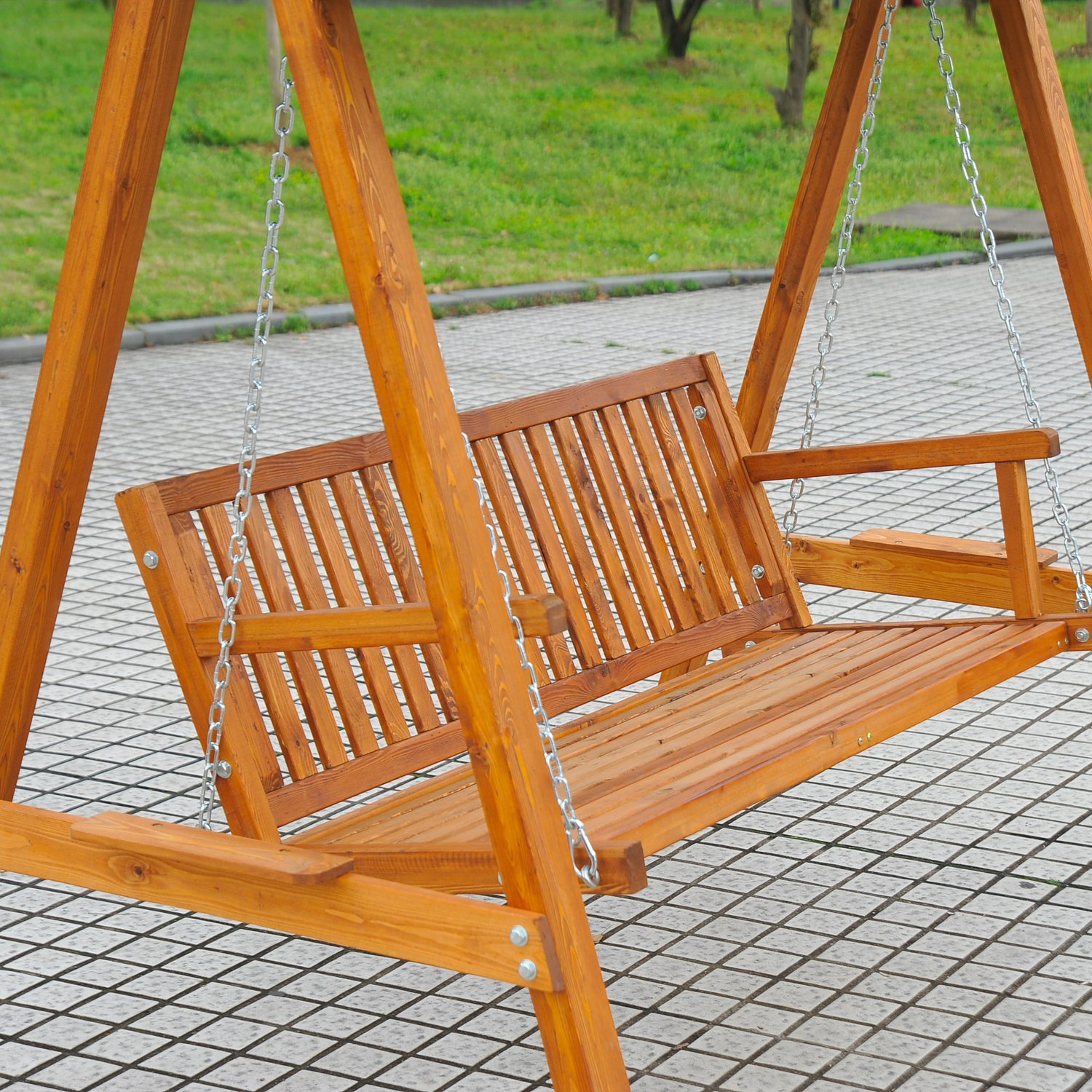 Outsunny 3 Seater Wooden Wood Garden Swing Chair Seat Hammock