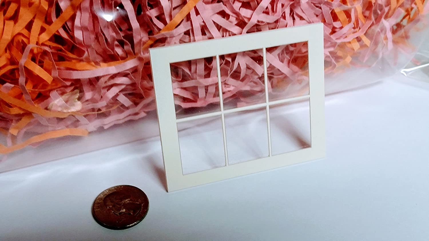 1/12 scale Dollhouse Window, half size, 3 over 3 panes, SET OF 8