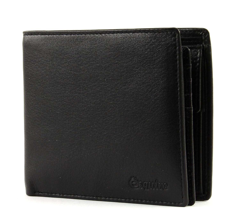 Scheintasche mit Card-Safe Esquire New Silk Schwarz Geldbörse Leder Geldbeutel
