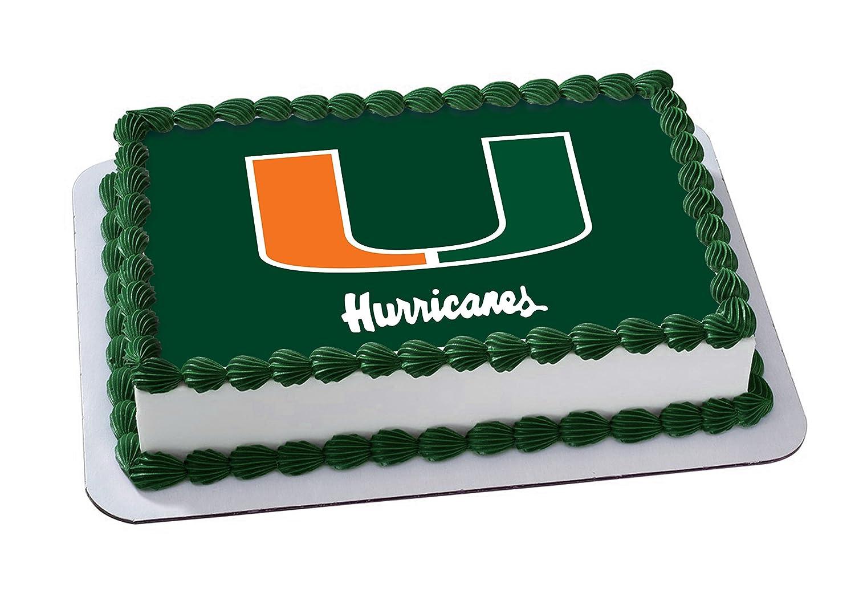 Miami Hurricanes Go Canes Edible Image Cake Topper Icing Sugar