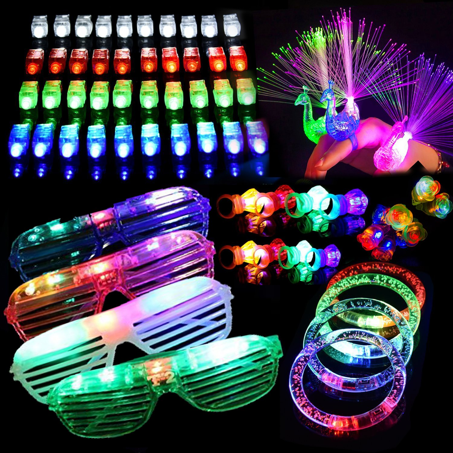 64 PCS LED Light Up Toys Glow in the Dark Party Supplies, Party Favors for Kids with 40 LED Finger Lights, 12 Flashing Bumpy Rings,4 Peafowl Rings, 4 Bracelets and 4 Flashing Slotted Shades Glasses