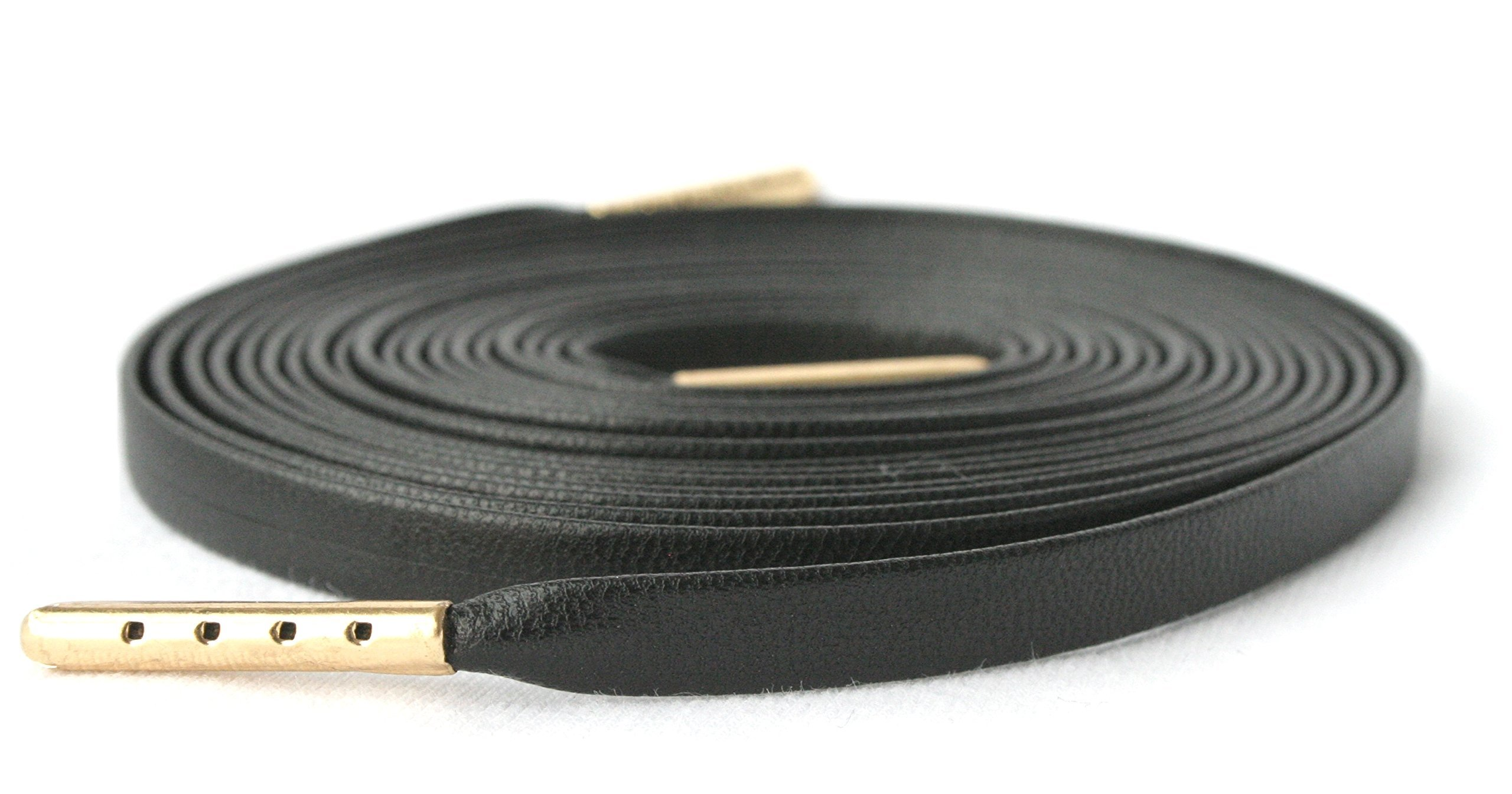 63'' (160 cm) Black Flat Lambskin Leather Shoe Laces with Gold Tips