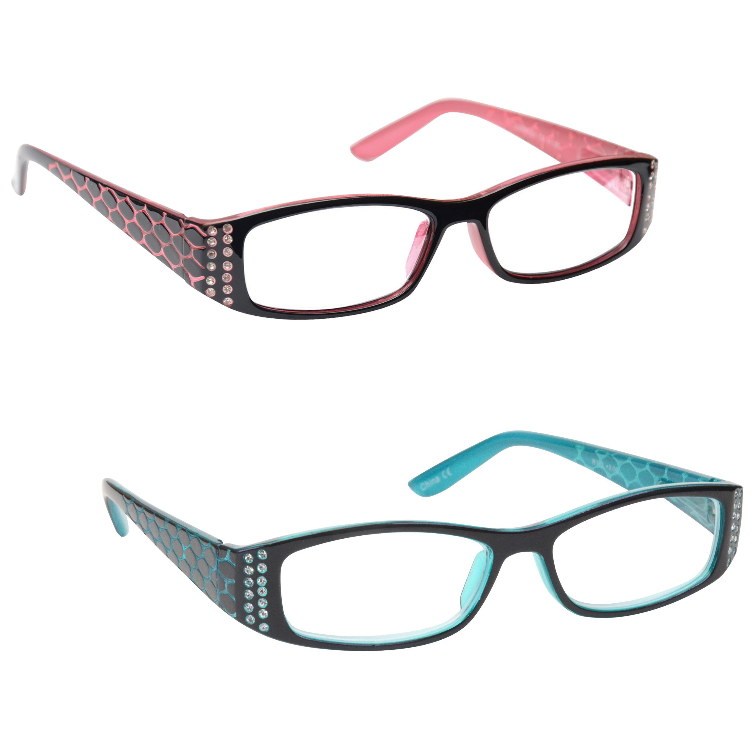 The Reading Glasses Company Pink Black & Tiffany Style Blue Readers Value 2 Pack Womens Ladies Inc Bag RR1-43 +1.75