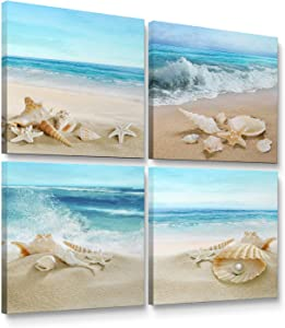 """Niwo Art - Seashell Starfish on Beach, Modern Seascape Canvas Wall Art, Contemporary Home Decor, Gallery Wrapped, Stretched, Framed Ready to Hang (12""""x12""""x3/4"""")"""
