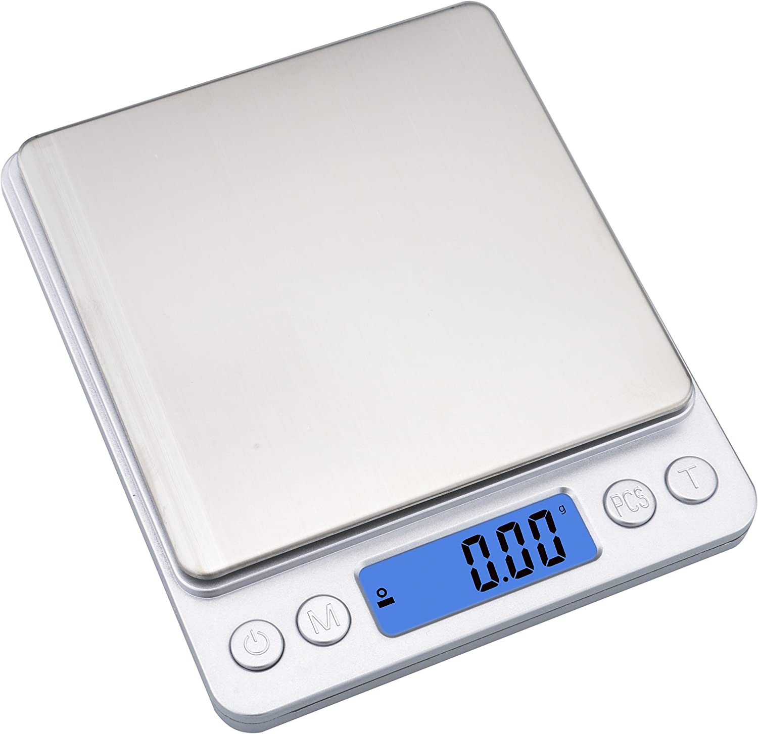 Ewolee Digital Kitchen Food Scale,500g/0.01g Multifunction Electric Jewelry Scales,Digital Pro Pocket Scales with Stainless Platform,Silver(2 Batteries& 2 trays Included)
