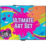 GirlZone: Ultimate Art Set For Kids, Christmas Birthday Present Gifts For Girls Age 3 4 5 6 7 8 9 + years old. Fun Craft & Art Set For Children - 118 Pieces - Pens, Crayons, Oil Pastels, Paints, Colouring Pencils - Ideal for drawing, doodling, painting.