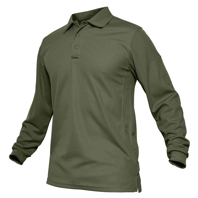 TACVASEN Outdoor Performance Polo Collar Lightweight Long Sleeve Shirt Army Green,US M by TACVASEN