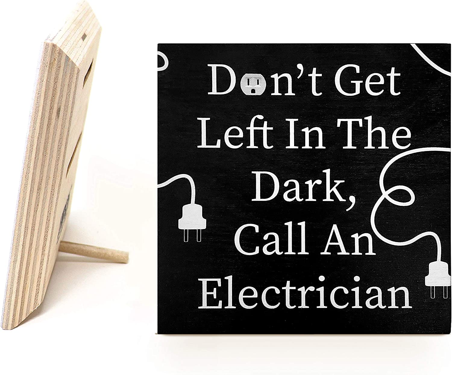 JennyGems Dont Get Left in The Dark, Call an Electrician Wood Sign | Gift for Electricians | Made in USA