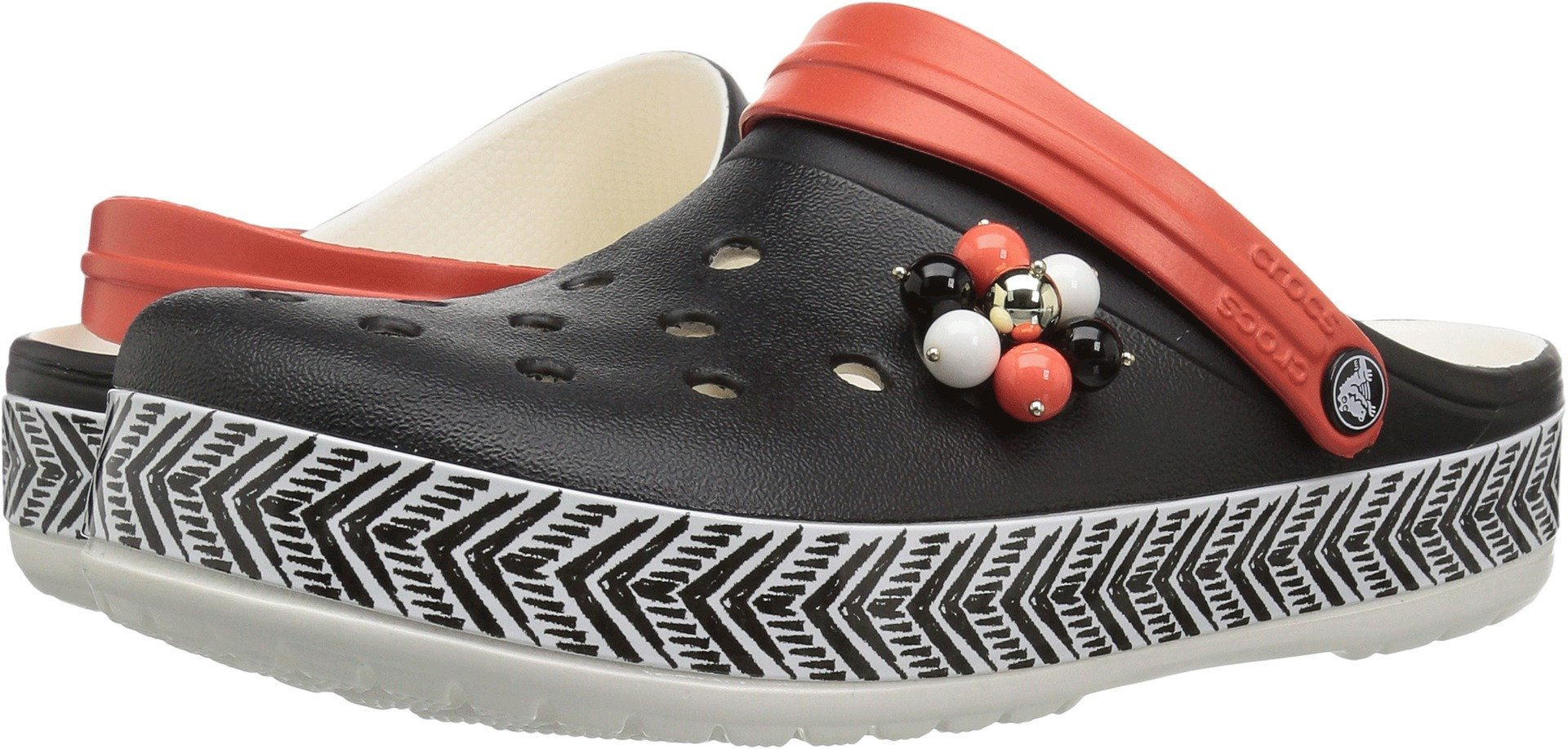 Crocs Women's Drew Barrymore Crocband Chevron Clog, Black/White, 7 US Men/ 9 US Women M US
