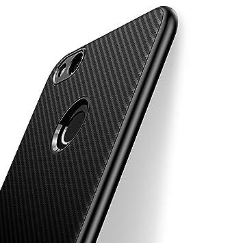 J Jecent Funda Huawei P8 Lite 2017, [Textura Fibra de Carbono] Carcasa Ligera Silicona Suave TPU Gel Bumper Case Cover de Protección Antideslizante ...