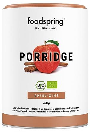 foodspring Porridge proteico, Orgánica Manzana-canela, 420g, Desayuno para estar en forma