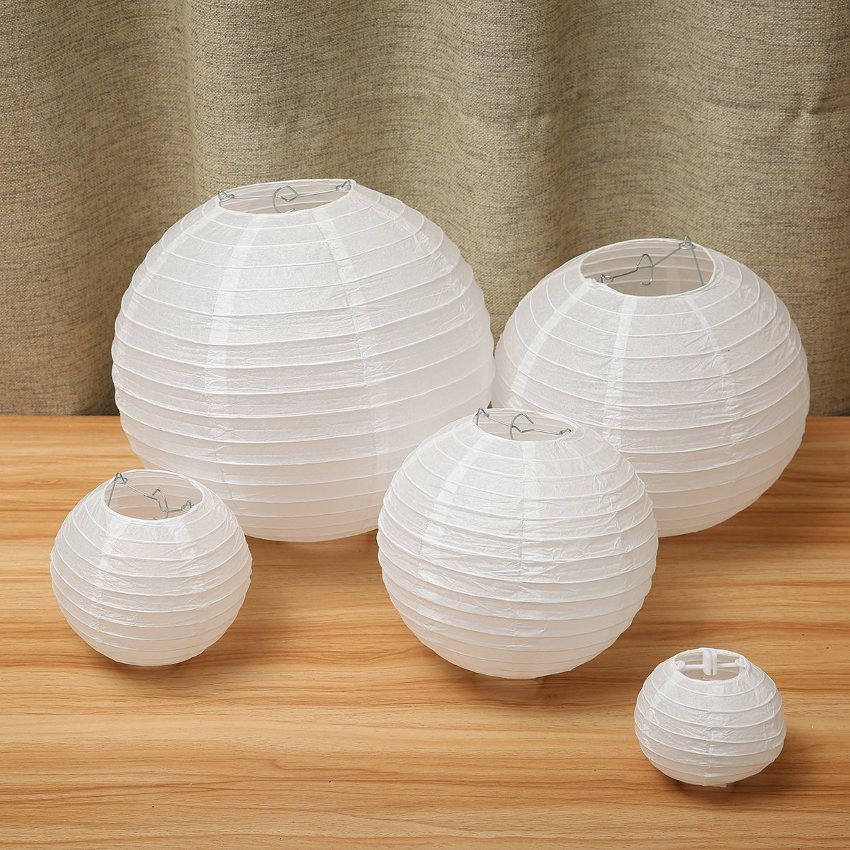 KINGSO 20 Pcs White Round Paper Lanterns with 5 Different Sizes for Brithday Wedding Party Celebration Decorations White