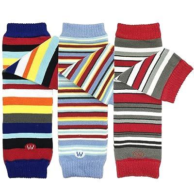 Bowbear Baby 3-Pair Leg Warmers, Navy, Sky Blue, Red Stripes