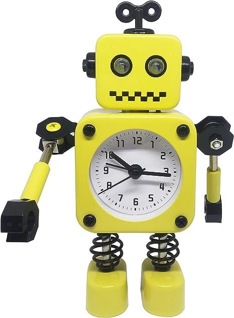 Yellow) - Cute Metal Robot Alarm Clock For Kids-Funny Decoration