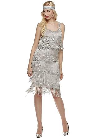 GEESENSS Womens 1920s Vintage Straps Dress Glam Lace Tassels Hem Cocktail Party Dress Gray XL