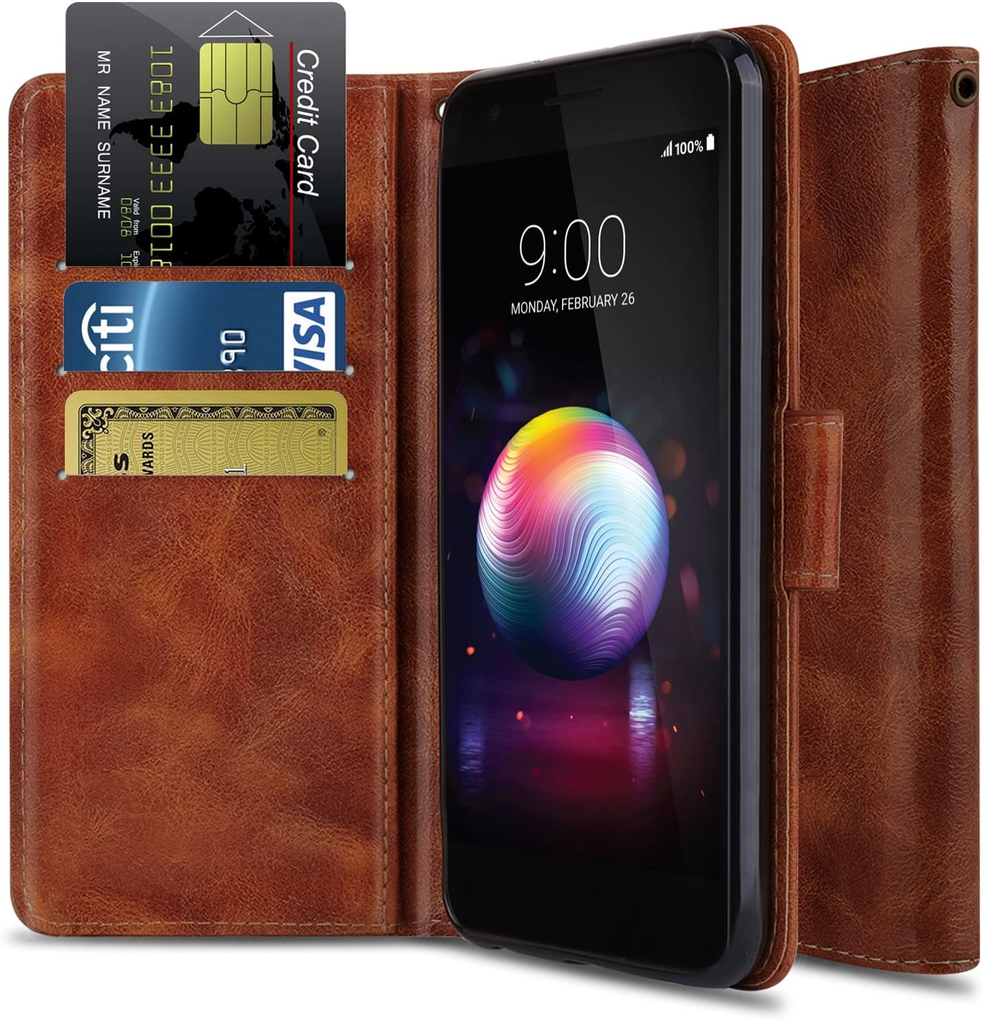 LG K30 Case, LG Premier Pro LTE L413DL Case, LG K10 2018 Case OTOONE [Flip Folio] Heavy Duty Shock Proof PU Leather Wallet Protective Phone Cover with Kickstand for LG Phone 2018 (Bronze)