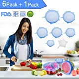 Silicone Stretch Lids BPA Free Reusable 7 pack Silicon Lids overs Food Saver Covers Various Sizes for Keeping Food Fresh, Bowls, Bottles,Pots Cans, Cups, Platters, Dishes,Jars, Oven, Microwave (Blue)