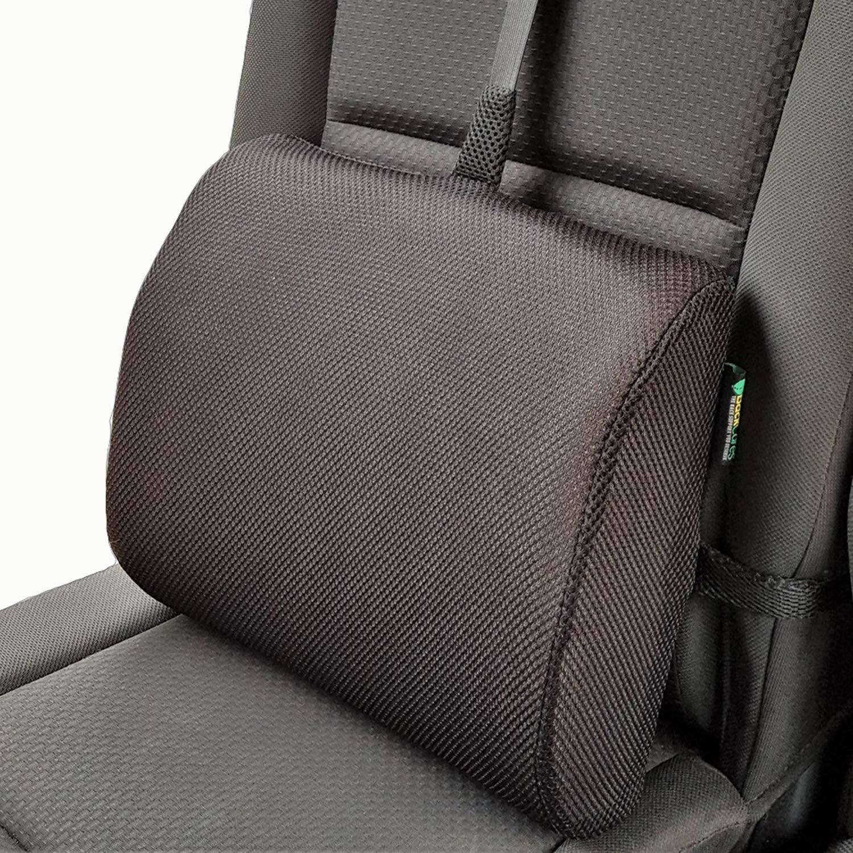 Cojín lumbar con Memory Foam de BackCares - La mejor almohada con soporte lumbar para la casa, la oficina, el auto - Cojín lumbar con correa ajustable y cubierta hipoalergénica para la alineación ergonómica de la columna y el alivio del dolor de espalda