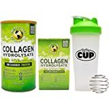 Great Lakes Gelatin, Collagen Hydrolysate, Pure Unflavored Beef Protein, Kosher, (1) 16 Oz Can and (1) 20 Ct Box Single Serve Packets with By The Cup Shaker
