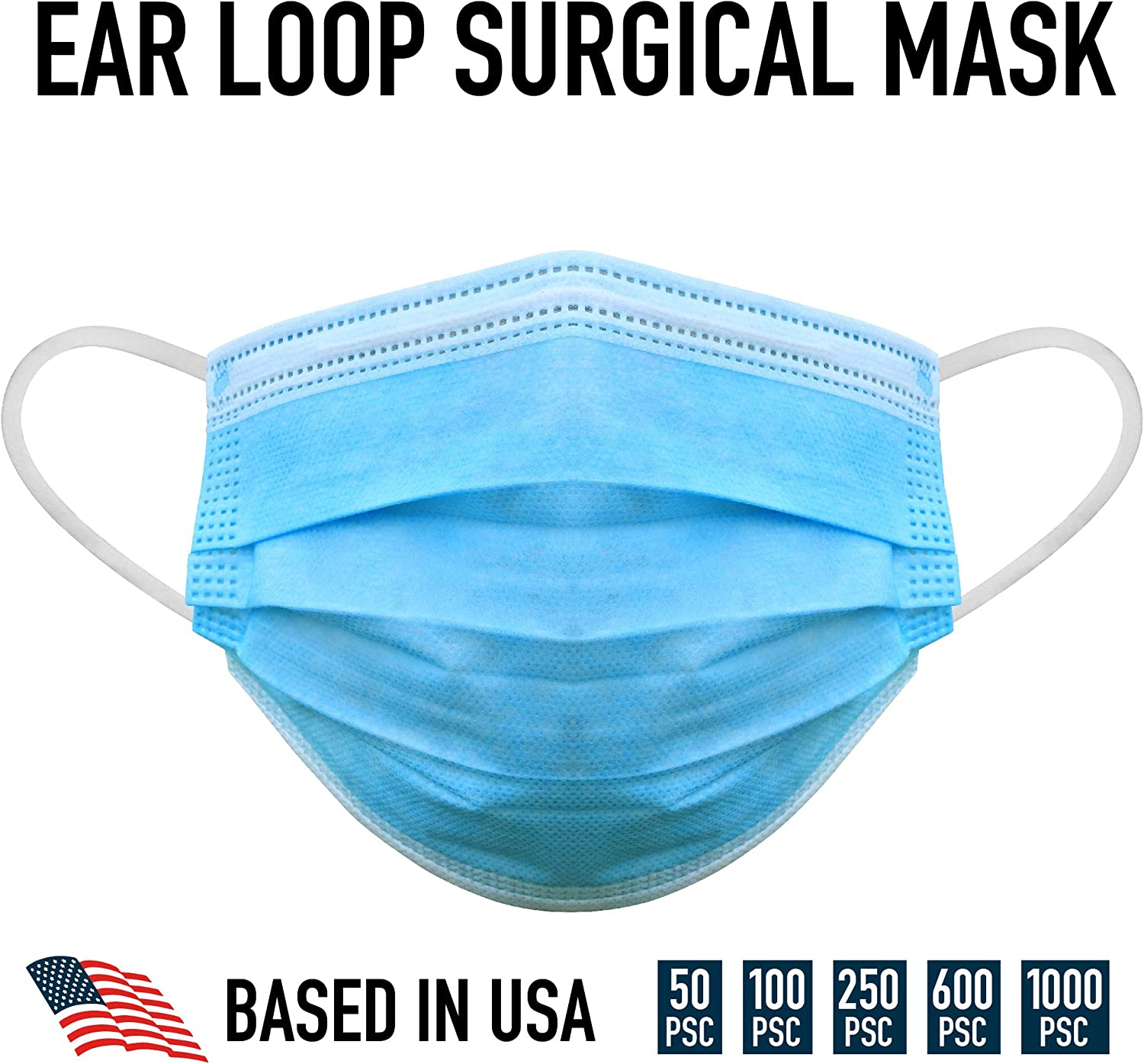 3 Ply Disposable Mask with Elastic Ear Loops - Mask 50 PCS - Soft & Comfortable Filter Safety Mask for Dust Protection