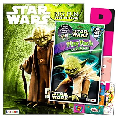 Star Wars Yoda Coloring Book Pack with Stickers Bundle Includes Separately Licensed GWW Reward Stickers and Bookmark for Kids: Arts, Crafts & Sewing