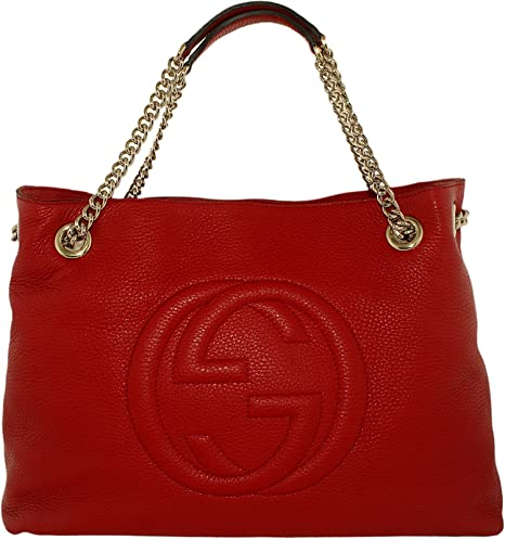 12c39417ee5 Gucci Women s Soho Leather Shoulder Bag Leather Top-Handle Tote - Red
