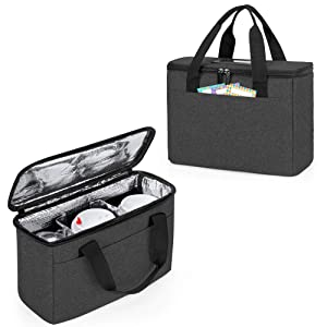 Trunab Reusable 3 Cups Drink Carrier for Delivery with Adjustable Dividers, Insulated Drink Caddy Holder Bag for Take Out, Beverages Carrier Tote with Handle for Outdoors, Black
