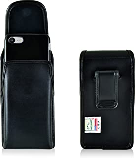 product image for Turtleback Holster for iPhone 8 iPhone 7, Black Vertical Belt Case Leather Pouch with Executive Belt Clip Made in USA