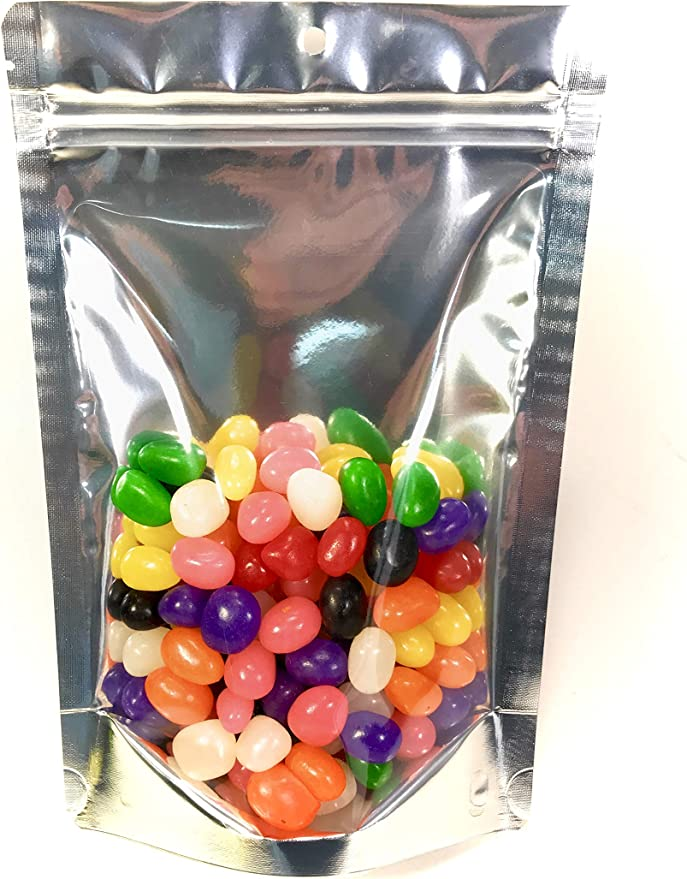 6x9.5in Clear Front Back Mylar Stand Up Zip lock Bag w//Handle Hole Desiccant A01