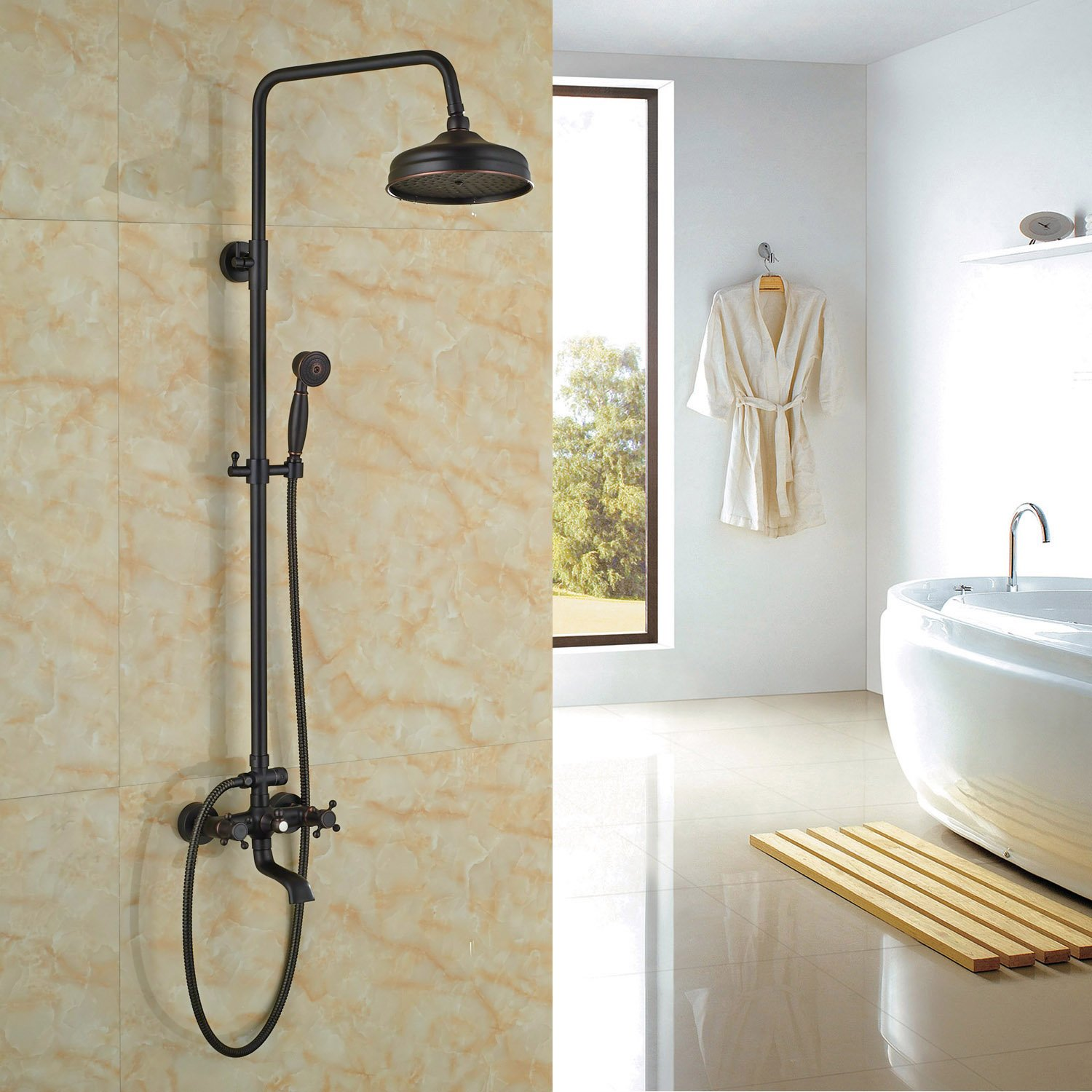 Rozin Luxury Oil Rubbed Bronze Bath Shower Faucet Set 8'' Rain Shower Head + Hand Shower Spray