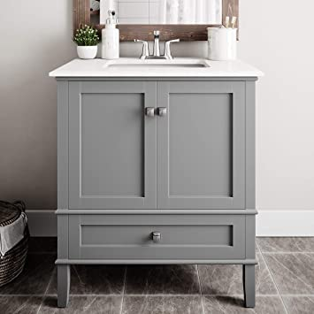 SIMPLIHOME Chelsea 30 inch Contemporary Bath Vanity in Smoke Grey