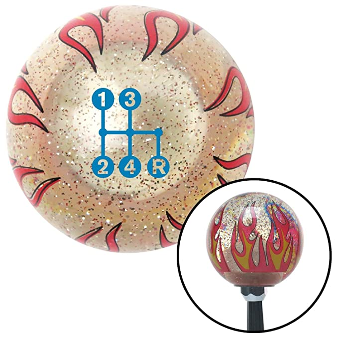 American Shifter 296030 Shift Knob Blue 4 Speed Shift Pattern - Dots 6n Clear Flame Metal Flake with M16 x 1.5 Insert