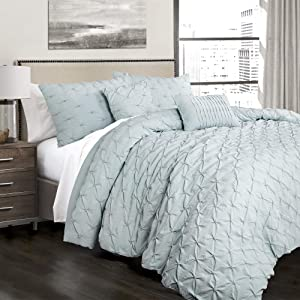 Lush Decor Ravello Shabby Chic Style Pintuck Blue 5 Piece Comforter Set with Pillow Shams, Full/Queen