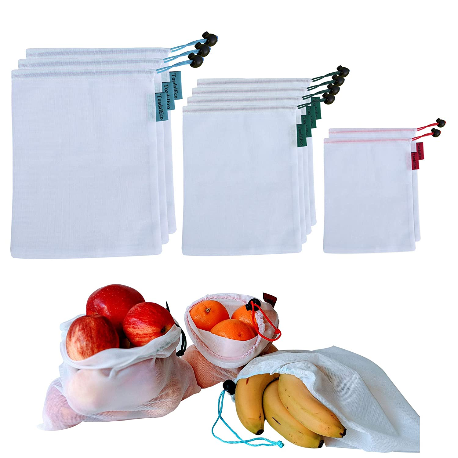 Reusable Produce Bags Washable Grocery Mesh Bags Set of 9 Net Bags for Storage in Large, Medium and Small Breathable and Lightweight Veggies Bags with Grocery Shopping Bag