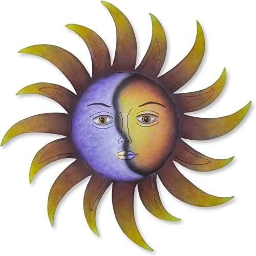 NOVICA Purple and Yellow Sun and Crescent Moon Painted Steel Indoor Outdoor Wall Decor