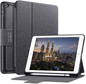 Amber & Ash iPad Folio Case - Protective- Slim Folding - Multi Angle Stand Cover with Smart Auto Sleep/Wake and Apple Pencil Holder - Fits 9.7 inch iPad [Black]