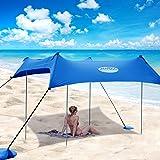 UMARDOO Family Beach Tent with 4 Aluminum Poles, Pop Up Beach Sunshade with Carrying Bag (Blue, 7X7 FT)