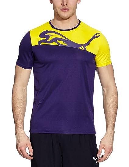Puma - Camiseta de fútbol sala para hombre, tamaño XL, color parachute morado - vibrante amarillo: Amazon.es: Ropa y accesorios