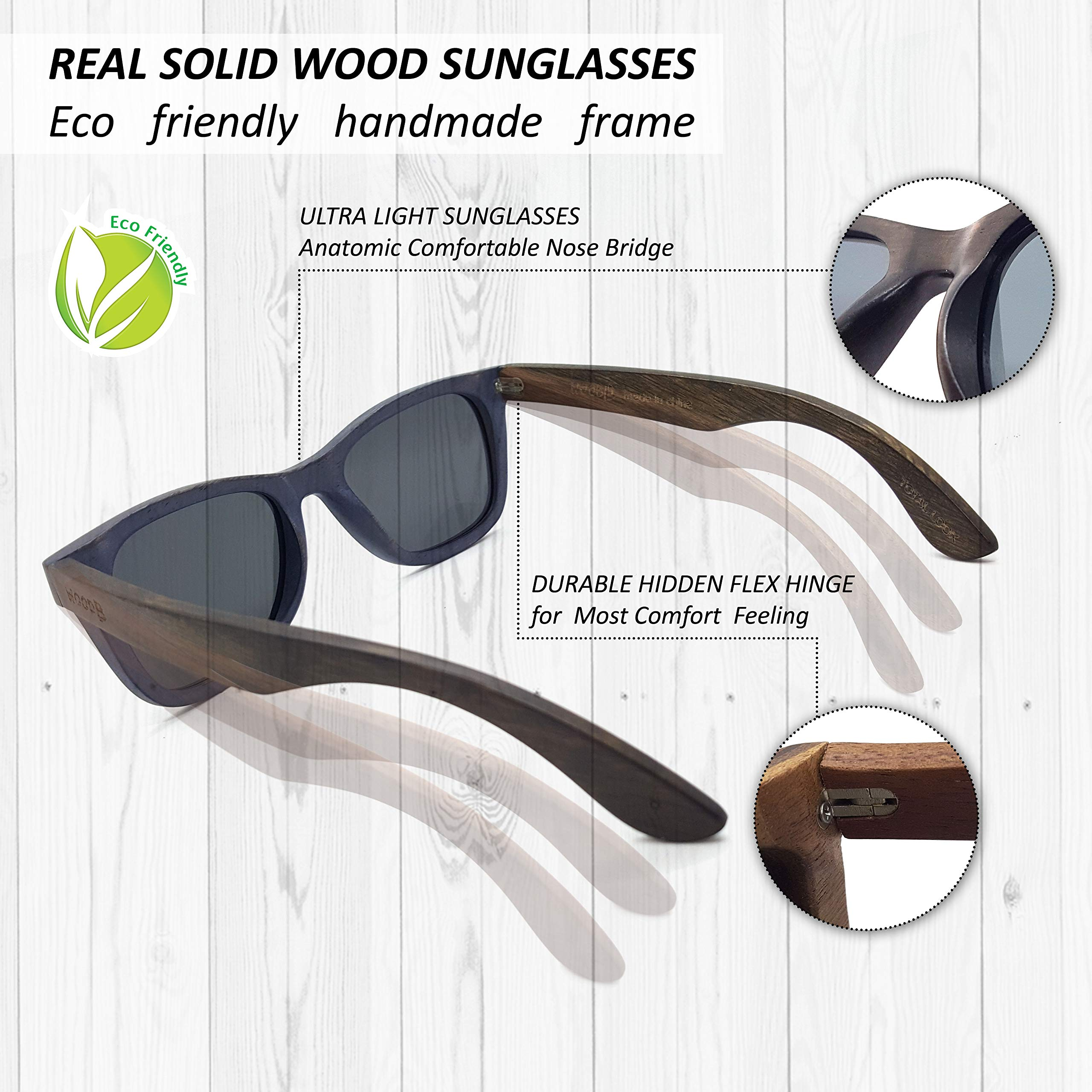 Real Wood Sunglasses Wayfarer UV-400 Polarized Lenses Plus Cap in Gift box by WOODB (Image #5)