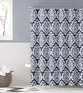 Amazoncom Navy Blue White IKAT Cotton Fabric Shower Curtain