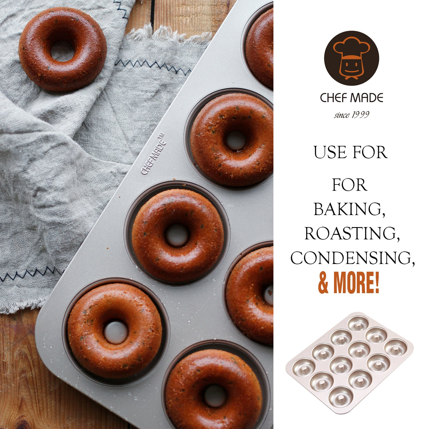 CHEFMADE Donut Mold Cake Pan, 12-Cavity Non-Stick Ring Doughnut Bakeware, FDA Approved for Oven Baking (Champagne Gold) by CHEFMADE (Image #3)