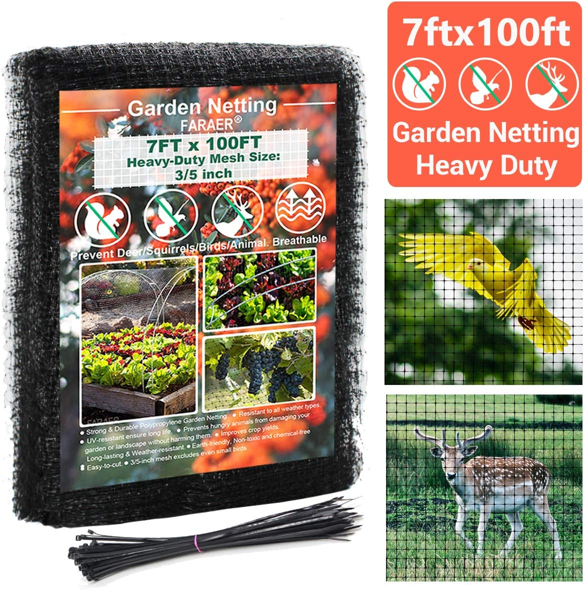FARAER Garden Bird Netting, Heavy Duty 7x100 Feet Deer Fence Netting Crop Protection Net Reusable Barrier Netting Plant Covers for Protect Plants and Fruit Trees Vegetables from Birds Deer Animals