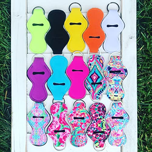 SET OF 15 LILLY FLORAL & SOLID BLANK Neoprene Travel Keychain Case for Essential Oil Roller